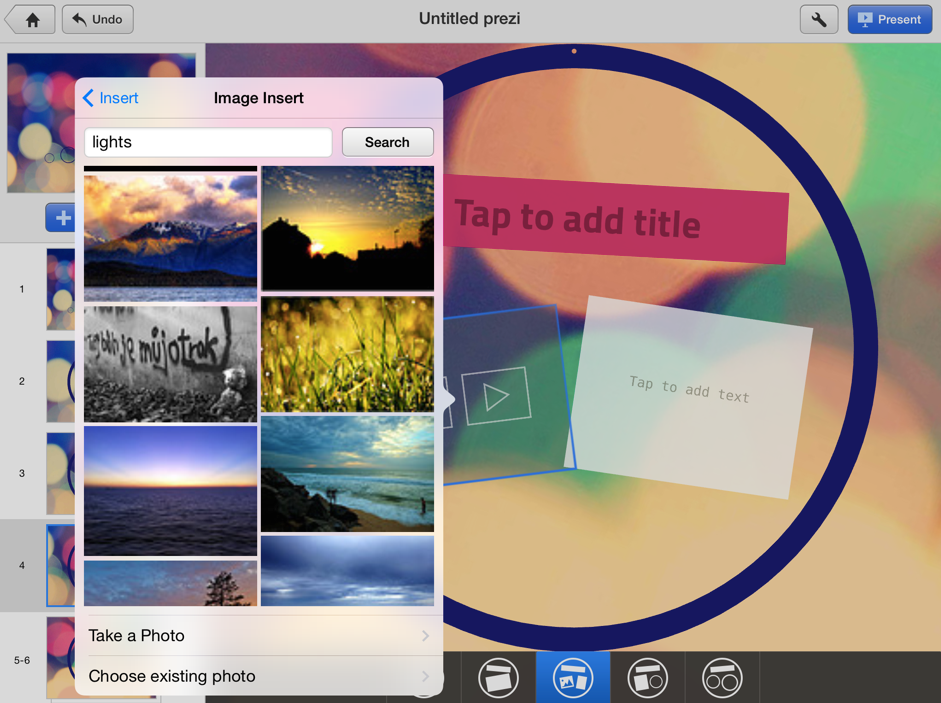 how to make words appear on prezi